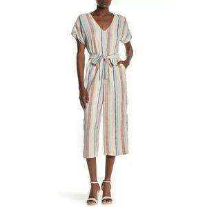 June & Hudson | Short Sleeve Stripe Print Jumpsuit